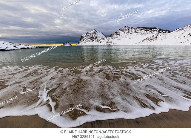 Haukland Beach, ner Uttakleiv, Lofoten Islands, Arctic, Northern Norway