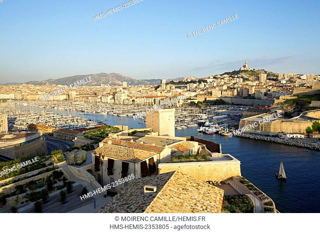France, Bouches du Rhone , Marseille, Euromediterranee area, the Fort Saint Jean historical monument and the Jardin des Migrations, R. and R