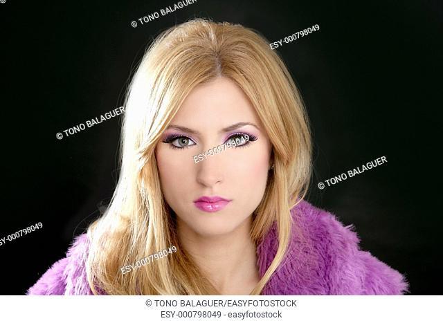 barbie blonde beautiful woman portrait pink fashion on black background