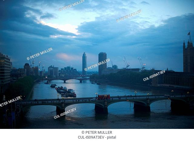 High angle view of the Thames and Westminster bridge at dawn, London, England, UK