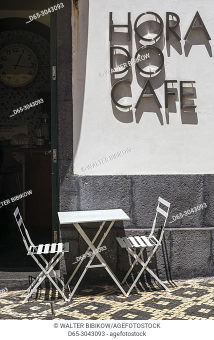 Portugal, Azores, Sao Miguel Island, Ponta Delgada, sign for the Hora do Cafe cafe
