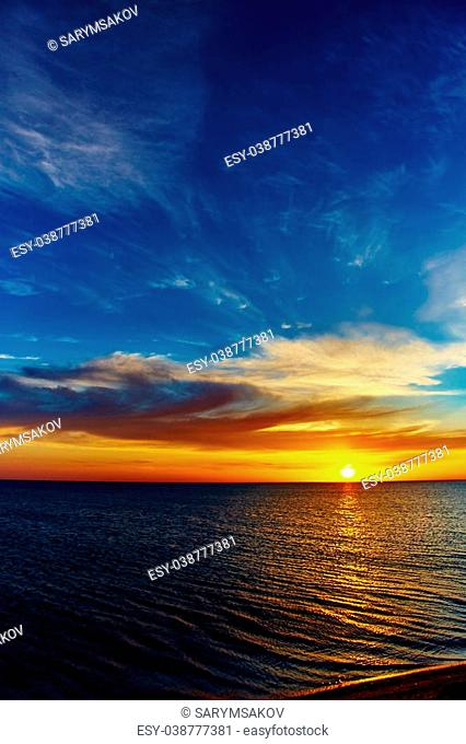 Sunset over the ocean. sunset at coast of the sea