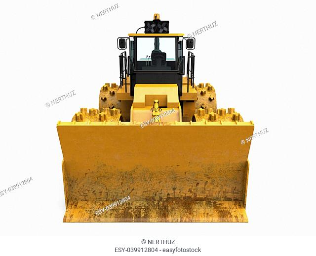 Yellow Bulldozer Isolated isolated on white background. 3D render