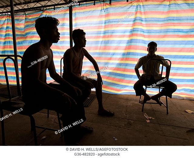 Shadows and silhouettes of people in Sri Lanka