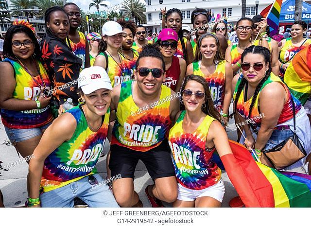 Florida, Miami Beach, Lummus Park, Gay Pride Week, LGBTQ, LGBT, Pride Parade, participants, staging area, Barry University, student