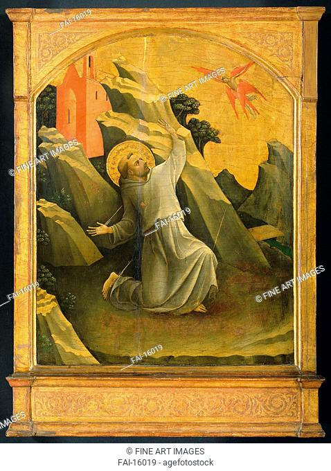 Saint Francis receiving the Stigmata. Lorenzo Monaco (ca. 1370-1425). Tempera on panel. Gothic. 1424. Rijksmuseum, Amsterdam. 87x61,5. Painting