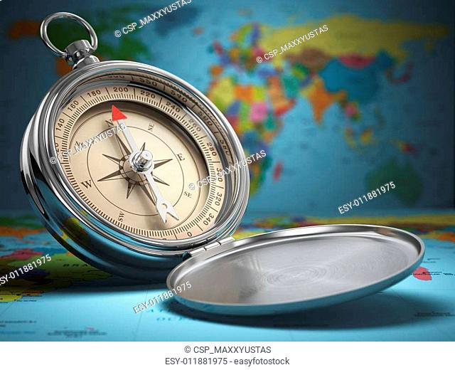 Compass on world map background. Navigation