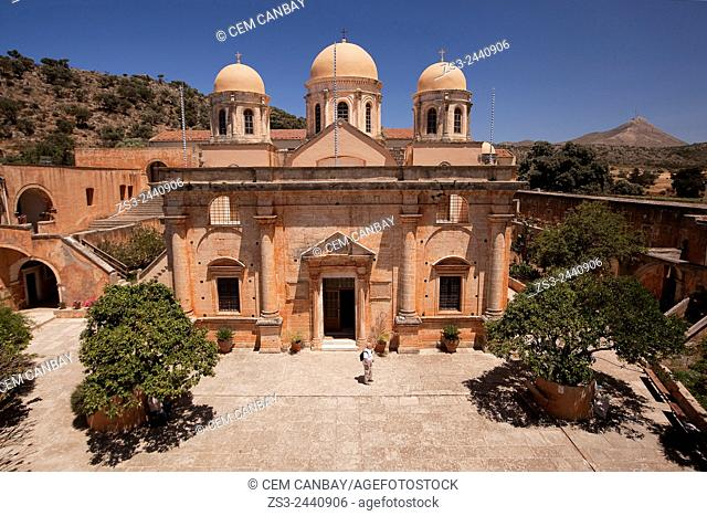 Scene from the Agia Triada Monastery, Akrotiri Peninsula, Crete, Greek Islands, Greece, Europe