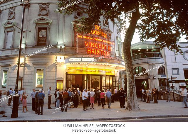Playhouse on Craven Street (near Trafalgar Square). Theater-goers outside during interval