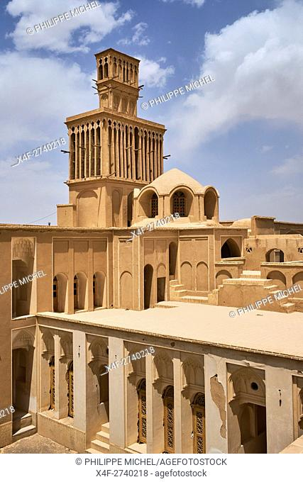 Iran, Yazd province, Abarkuh, Aghazadeh, traditional house with the badgir or wwindtowers