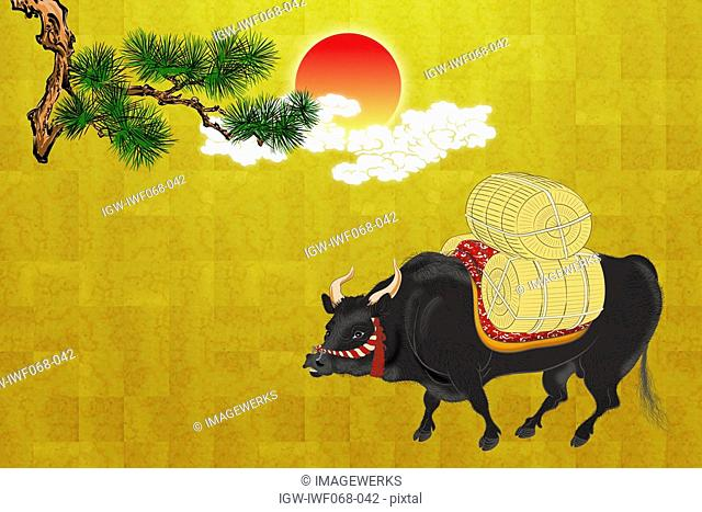 Japanese ox carrying rice bale, illustration