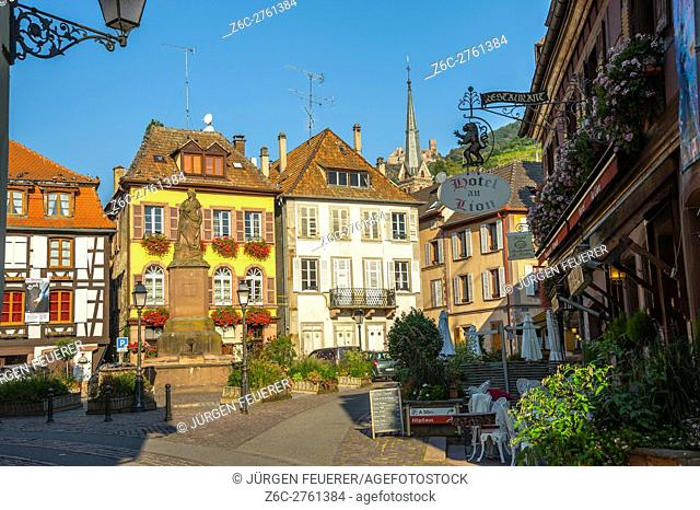 Ribeauvillé, near Colmar, scenic route of Vine Alsatian, Upper Rhine, picturesque village, Alsace, France