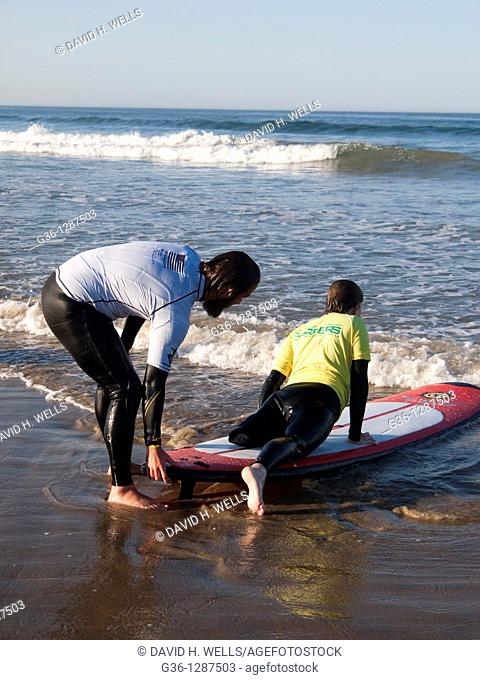 Amputees on the waves of Pismo Beach, California during a Surf Clinic, sponsored by AmpSurf, who has been running such clinics for 8 years