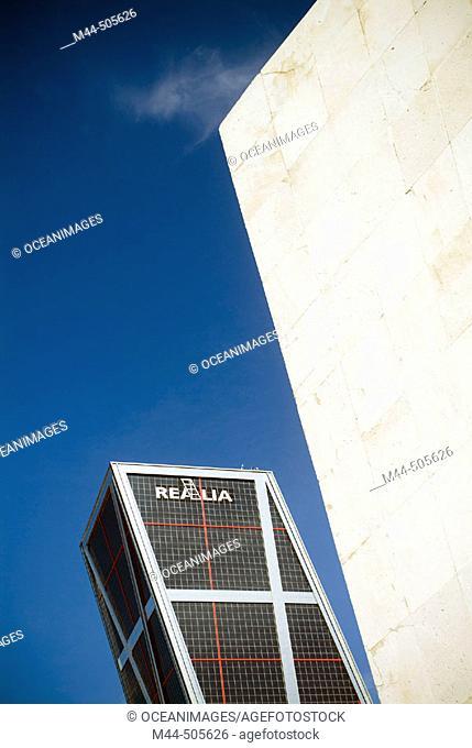 Monument to Calvo Sotelo and Kio Towers on Paseo de la Castellana. Madrid. Spain