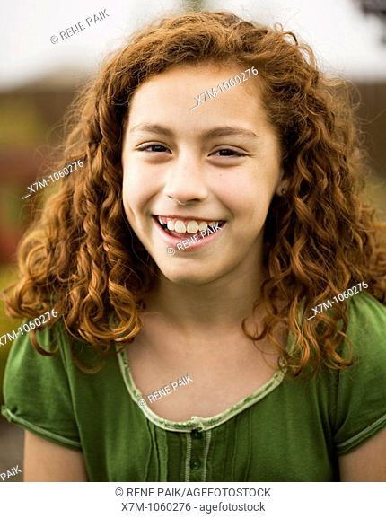 Young girl smiling and laughing  Mixed race, Mexican and caucasian