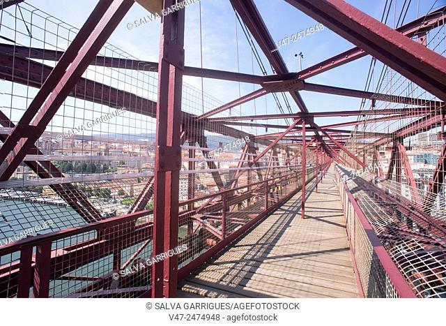 Iron beams holding the upper walkway of the bridge of Vizcaya, Pais Vasco, Spain, Europe