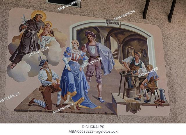 Paintings and frescoes decorate the typical houses Garmisch Partenkirchen Oberbayern region Bavaria Germany Europe