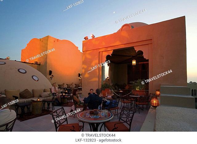 United Arab Emirates Dubai, One & Only Royal Mirage, Arabian court, five star Hotel at Jumeirah beach, Rooftop bar sunset