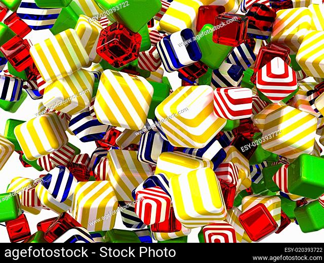 Colorful Abstract cubes or candies isolated