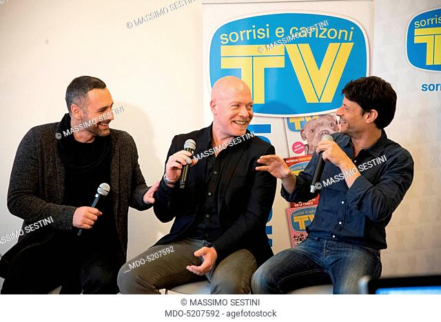 Actors Raoul Bova, Andrea Sartoretti e Giuseppe Loconsole, protagonists of the TV series Fuoco amico TF45 - Eroe per amore