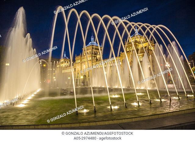 Fountain at Jose Zorrilla Square and Cavalry academy , Valladolid, Castilla y Leon, Spain