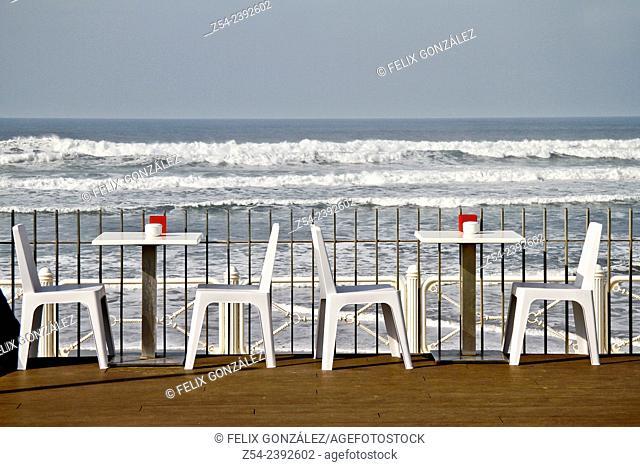 Bar Terrace at Salinas beach, Asturias, Spain