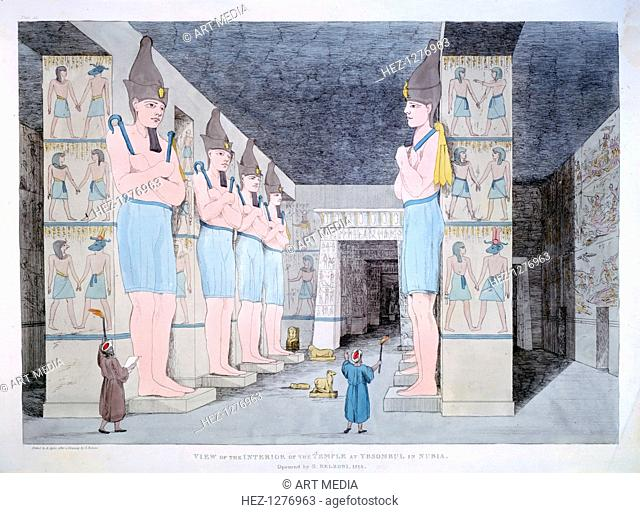 'The Interior of the Temple at Ybsombul in Nubia', 1820. Statues inside the Temple of Rameses II at Abu Simbel. The Italian explorer Giovanni Belzoni cleared...