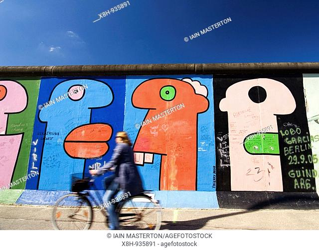 Remaining section of the Berlin Wall at the East Side Gallery in Berlin Germany 2009