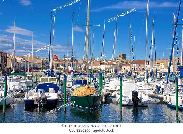 boats, marina harbor , Meze, Herault 34, Languedoc Roussillon region, France