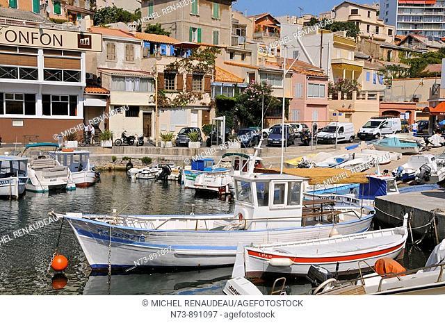 Vallon des Auffes little fishing port, Marseille, Bouches-du-Rhône, France