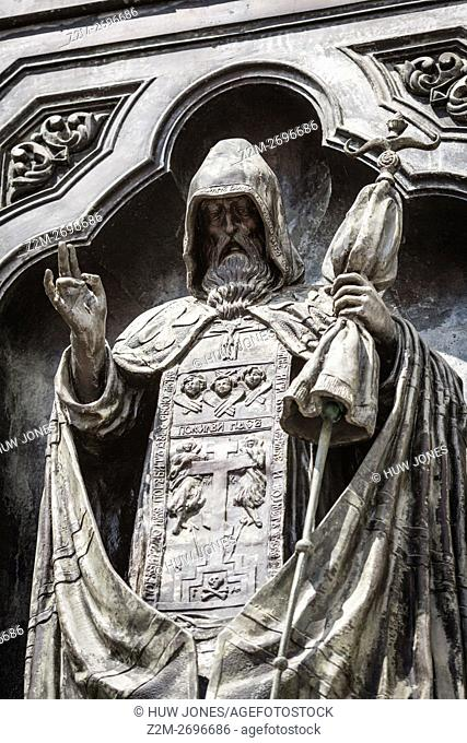 Close up of statues of the Cathedral of Christ the Saviour, Moscow, Russia