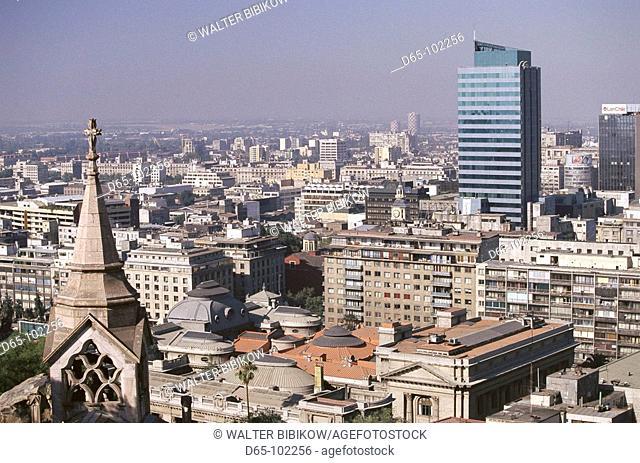 Buildings as seen form Cerro Santa Lucia, Santiago. Chile