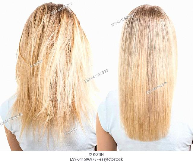 Blonde hair before and after treatment. Isolated and white background