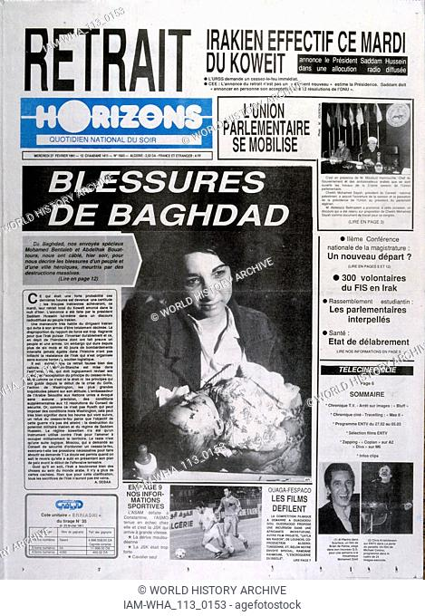 Headline in 'Horizons' a French language Algerian newspaper, 27th February 1991, concerning the Gulf War (2 August 1990 - 28 February 1991)