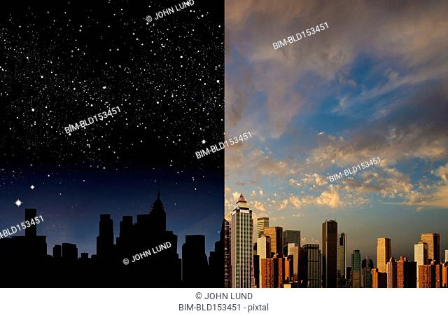 City skyline at night and daytime