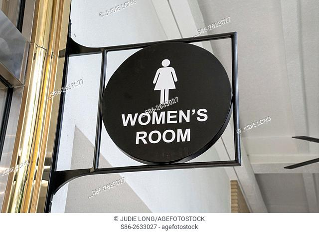 Women's Room Directional Sign at a Southern Florida Shopping Mall