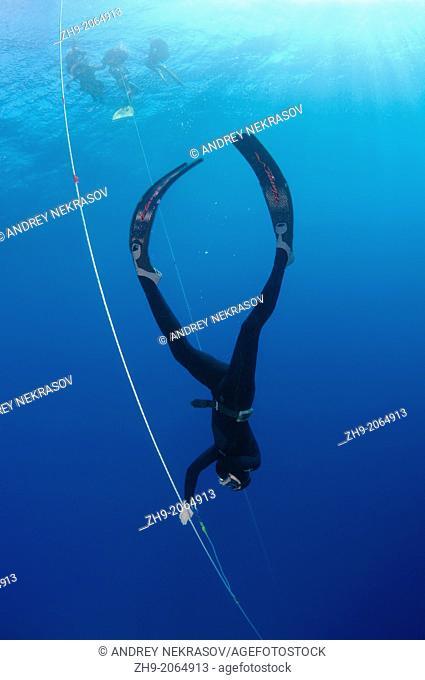 freediver, Aegean Sea, island Symi, Greece
