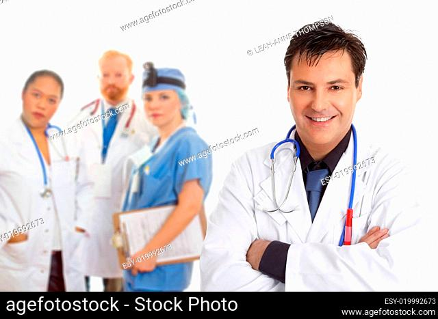 Hospital medical team of doctors and surgeons