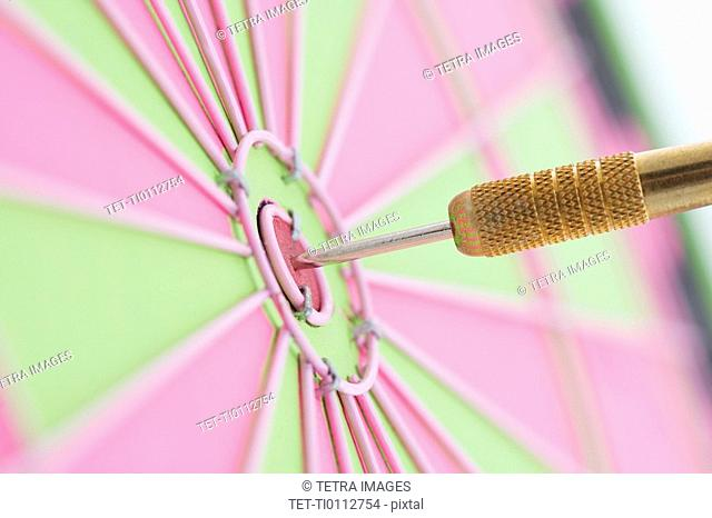 Closeup of dart in bulls eye