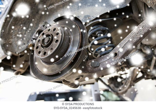 car brake disc at repair station