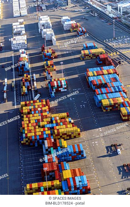 Aerial view of containers in shipping yard