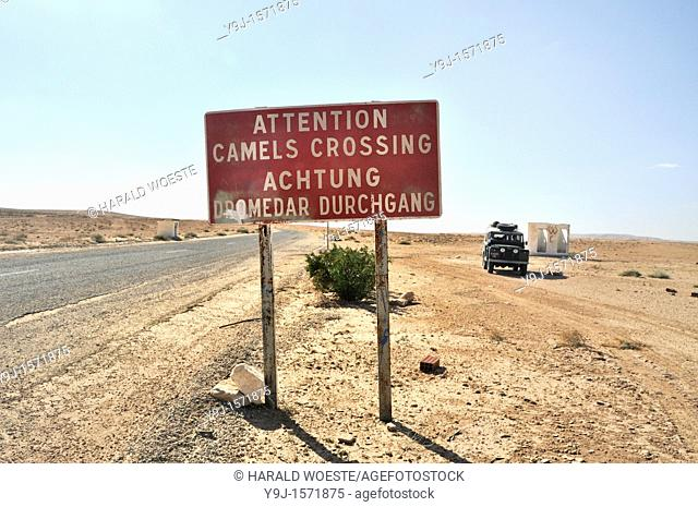 Africa, Tunisia, between Ksar Rhilane and Douz  Road sign warning of camels crossing the road