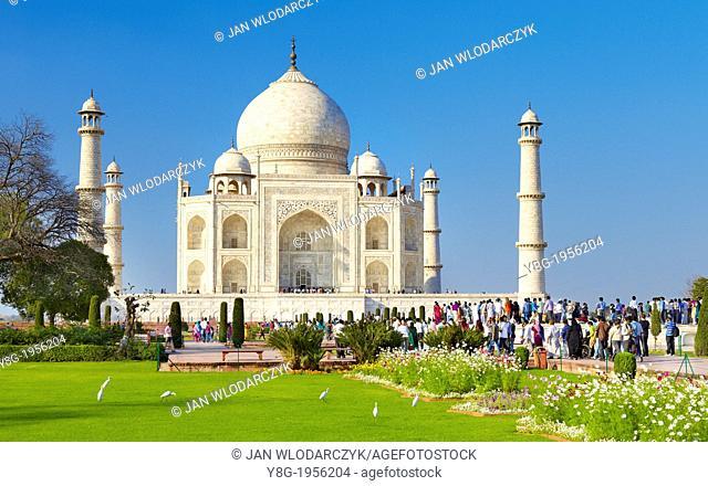 Taj Mahal and the Mughal gardens of the Taj Mahal, Agra, Uttar Pradesh, India
