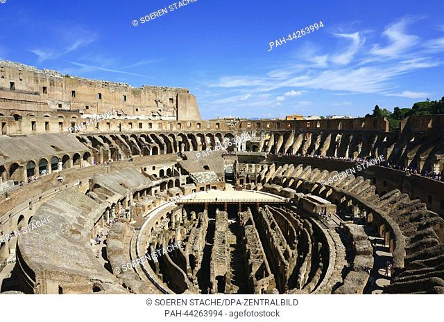 View of the Colosseum in Rome, Italy, 15 August 2013. The Colosseum was the largest amphitheatre of the Roman Empire. It is today one of Rome's best known...