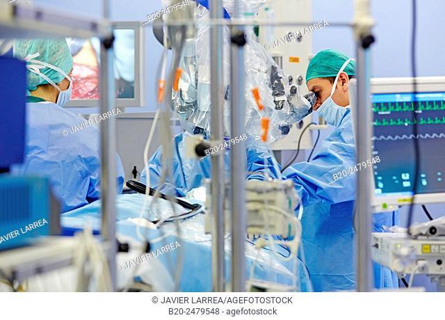 Operating room, Brain operation, Neurosurgery, Hospital Donostia, San Sebastian, Gipuzkoa, Basque Country, Spain