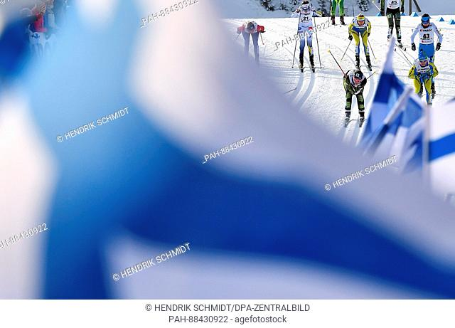 Athletes during the women's 2 x 7.5km cross-country event at the 2017 Nordic World Ski Championships in Lahti, Finland, 25 February 2017