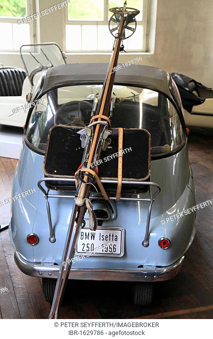 BMW Isetta 250 with strapped on suitcase and ski equipment, ErfinderZeiten car and clock museum in Schramberg, Black Forest, Baden-Wuerttemberg, Germany, Europe