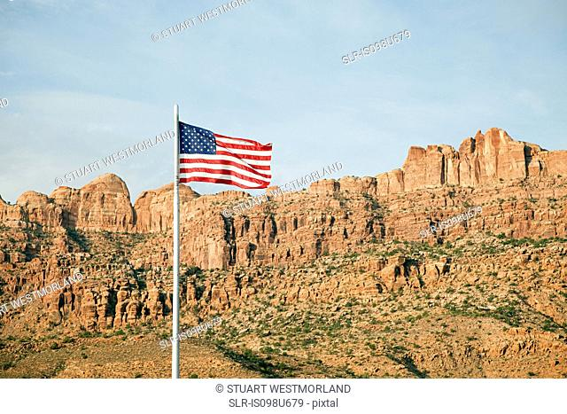 American flag and Gold Bar Rim, Moab, Utah, USA