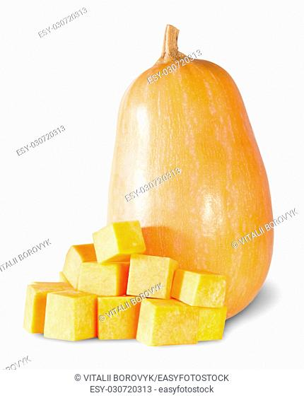 Pumpkin Entirely And Diced Isolated On White Background