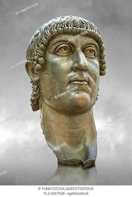 Roman gilded bronze head of Emperor Constantine dating from about 330-337 AD. . Inv 5. 13, The Capitoline Museums, Rome